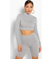 2 pack high neck top & cycling shorts co-ord set, grey