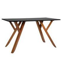 mesa de escritório ipiranga ii madeira maciça mel e preta