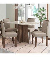 mesa de jantar 4 lugares ana 1265 100% mdf castanho/off white - new ceval