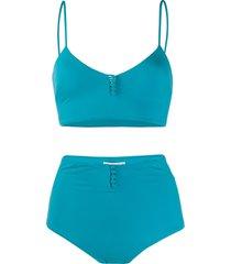 sian swimwear frida buttoned bikini set - blue
