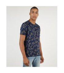 camiseta masculina estampado de pássaros manga curta gola careca azul marinho