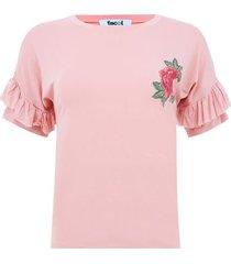 camiseta arandelas en manga color rosado, talla 6