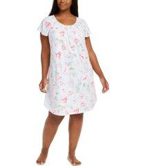 miss elaine plus size rose-print sleep shirt