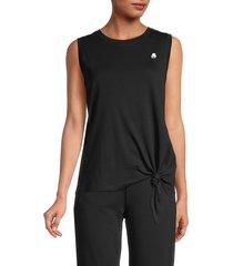 karl lagerfeld paris women's tie-waist logo top - black - size m