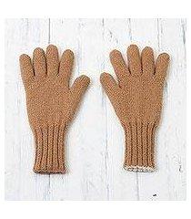 100% alpaca gloves, 'ginger alabaster' (peru)