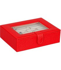 mele co. cole glass top fashion jewelry box and ring case in textured red vegan leather