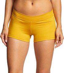 mika yoga wear women's lucia hot shorts - mustard large/x-large polyester/lycra