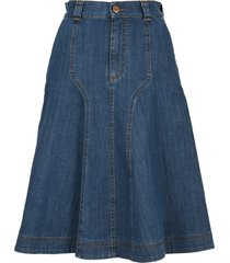 see by chloe flared denim skirt