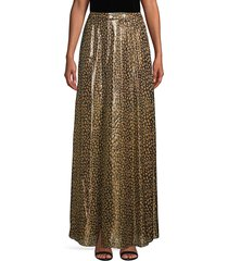 alice + olivia women's snakeskin-print silk-blend midi skirt - black yellow - size 0