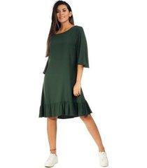 vestido amazonia vital curto viscose babado feminino - feminino
