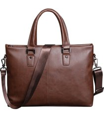 vintage crazy horse pu leather men's briefcase 14 inch laptop business leather