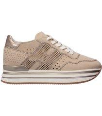 scarpe sneakers donna camoscio midi h222