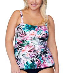 raisins curve trendy plus size protea haute bloom printed tankini top women's swimsuit