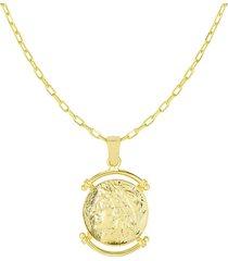 chloe & madison women's gold vermeil coin pendant necklace