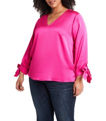 plus size women's cece tie sleeve satin blouse, size 2x - pink