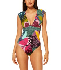 bleu by rod beattie mixed-print one-piece swimsuit women's swimsuit