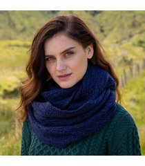 womens deep water blue aran infinity scarf