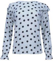 blusa estampada con arandela fondo blanco color negro, talla 8