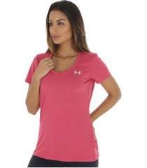 camiseta under armour tech vneck - feminina - rosa escuro