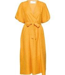 slflissy 2/4 midi wrap dress jurk knielengte oranje selected femme