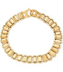 men's railroad track polished bracelet in 10k gold