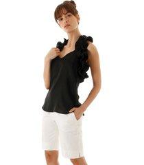 blusa sem manga com babados na alã§a preta aha - preto - feminino - dafiti