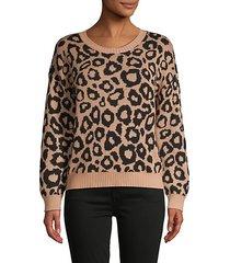 animal-print cotton-blend sweater