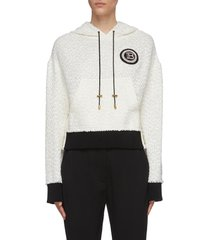 logo patch cropped tweed hoodie