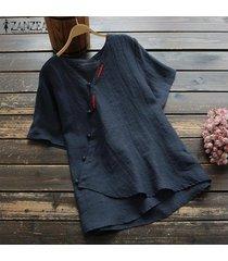zanzea summer women summer button down shirt tee top manga corta blusa cruzada hot -azul marino