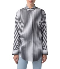 women's akris punto stripe block washed poplin tunic