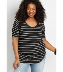 maurices plus size womens 24/7 black striped flawless tee