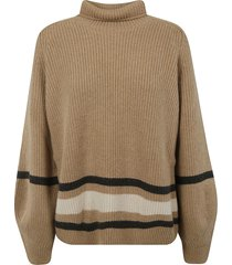 loro piana balloon-sleeve stripe detail sweater