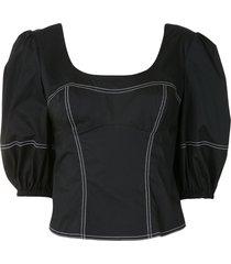 jonathan simkhai short-sleeved bustier blouse - black