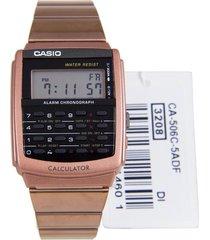 reloj casio ca-506c-5a para caballero oro rosa/ negro con calculadora