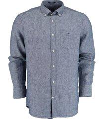 gant overhemd blauw 100% linnen 3012420/423
