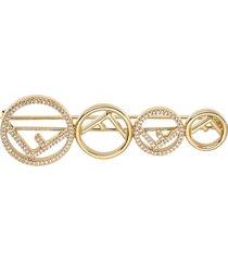fendi horizontal logo brooch - gold