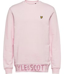 bottom branded crew neck sweat-shirt trui roze lyle & scott