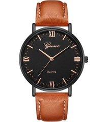 reloj pulso cuero pu cuarzo dial grande clasico gnv-j marron dorado