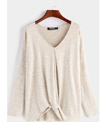 beige v neck long sleeves knot hem t-shirt