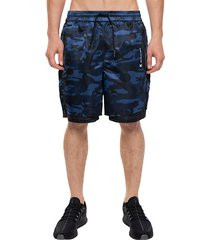 camo-print shorts