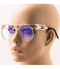 retro hip hop indie steampunk flat top mens womens clear lens gold round glasses