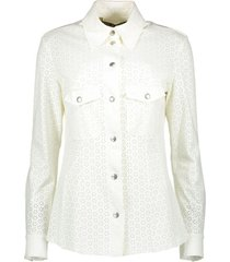 crëme de la crëme blouse blouse off white flower leather wit