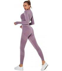 strój fitness fun kolor fioletowy legginsy i top
