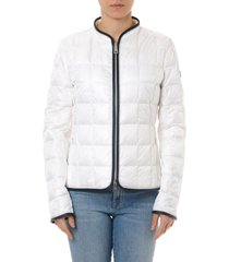 fay light ivory down jacket with contrasting edges