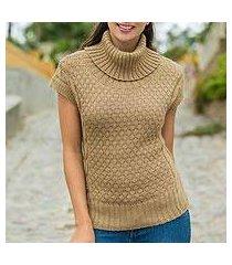 alpaca blend short-sleeve sweater, 'icas coquette' (peru)