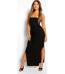 petite bandeau belted maxi dress, black