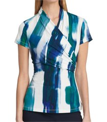 blouse surplice abstract print jersey