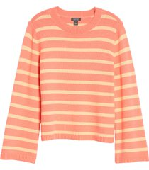 women's halogen x atlantic-pacific oversize stripe sweater, size small - coral