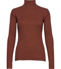ebo knit turtleneck polotröja brun holzweiler