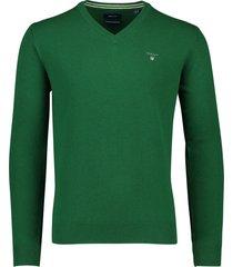 groene trui v-hals 100% wol gant